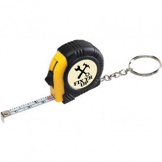 Rubber Tape Measure Key Tags With Laminated Label