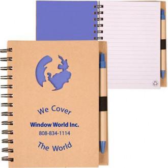 Recycle Die Cut Notebooks: Globe