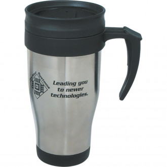 16 Oz. Stainless Steel Travel Mugs With Slide Action Lid And Pla