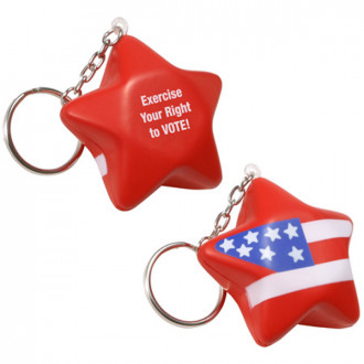 Patriotic Star Key Chains Stress Relievers