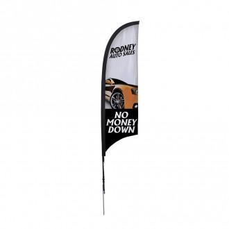 7' Razor Sail Sign Kit Single-Sided w/Spike Base