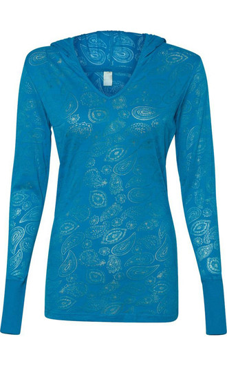 J. America Ladies' Jersey Burnout Hooded Pullover