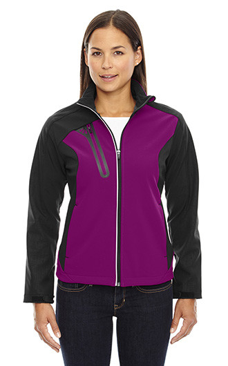 Terrain Women's Color-Block Soft Shell with Embossed Print