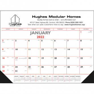 Red & Black Desk Pad with Vinyl Corners Calendars