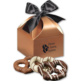 Chocolate Dipped Pretzels in Gold Gift Boxes