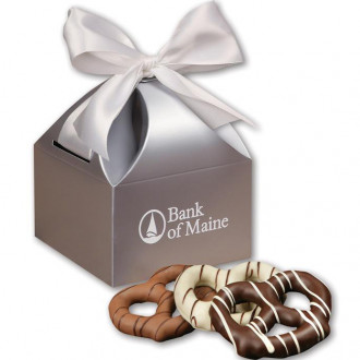 Chocolate Dipped Pretzels in Silver Gift Boxes