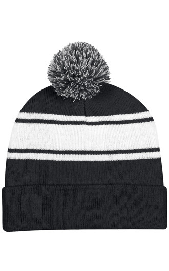 Two-Tone Knit Pom Beanies With Cuff