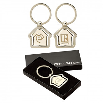 House Shaped Center Spinning Key Ring