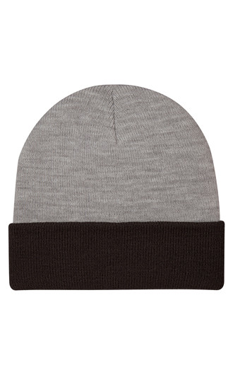 Two-Tone Knit Beanies With Cuff