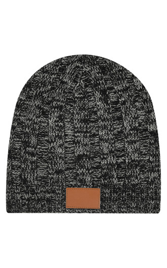 Knit Beanies With Leatherette Patch