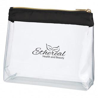 Sadie Satin Clear Cosmetic Bags