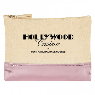 12 Oz. Cotton Cosmetic Bags With Metallic Accent