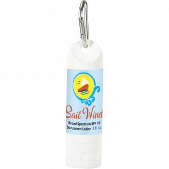 2 Oz. SPF 30 Sunscreen Lotion Carabiner Bottles