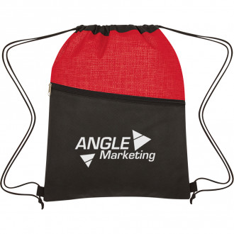 Crosshatch Two-Tone Non-Woven Drawstring Bags