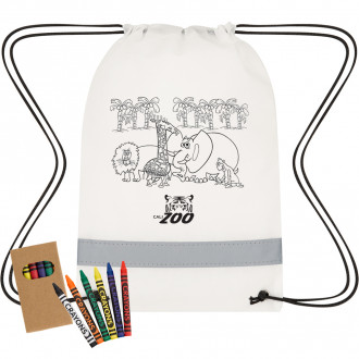 Lil' Bit Reflective Non-Woven Coloring Drawstring Bags With Cray