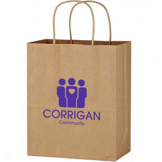 Kraft Paper Brown Bags With Purple Print