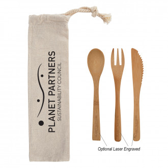Three Piece Bamboo Utensil Sets in Travel Pouches
