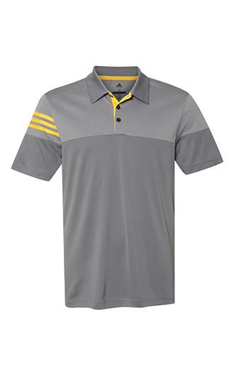 Adidas - Heathered 3-Stripes Block Sport Shirt