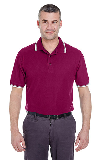 UltraClub Men's Short-Sleeve Whisper Pique Polo with Tipp