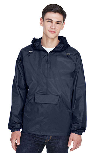 UltraClub Adult Quarter-Zip Hooded Pullover Pack-Away Jackets