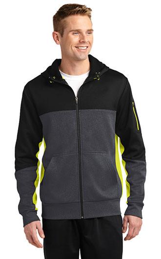 Sport-Tek Tech Fleece Colorblock Full Zip Hooded Jacket