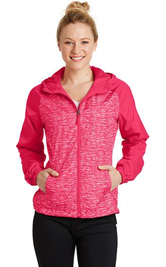 Sport-Tek Women's Heather Colorblock Raglan Hooded Wind Jack