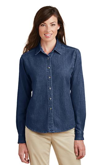 Port & Company - Women's Long Sleeve Value Denim Shirt