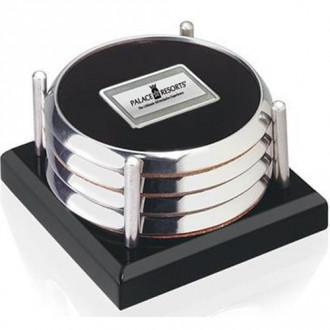 Four Coasters with Black Acrylic Tray