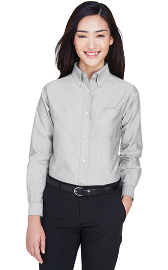 UltraClub Women's Classic Wrinkle-Resistant Long-Sleeve Oxford