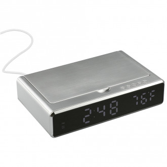 UV Sanitizer Desk Clock with Wireless Charging - Screen Print