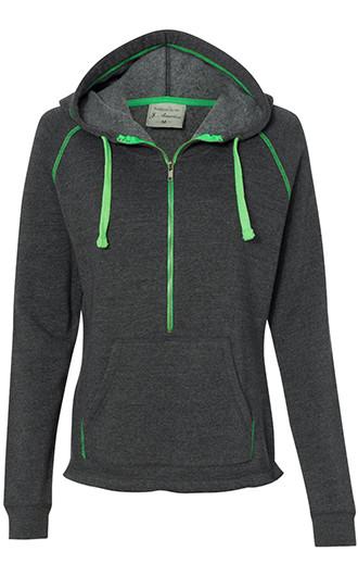 J. America - Women's Half-Zip Triblend Hooded Pullover Sweatshi